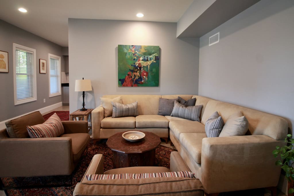 Unwind in the living room with comfortable seating for six