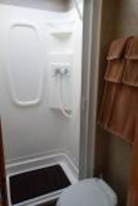 Bathroom with shower - and towels are included!