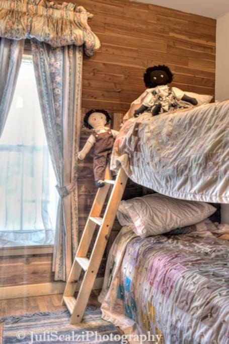 The connected bunk room is just right for kids
