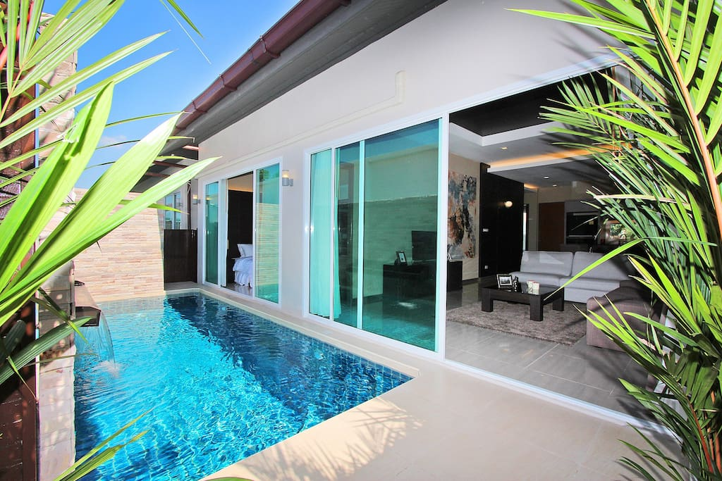 Private pool with an access to master bedroom and living room