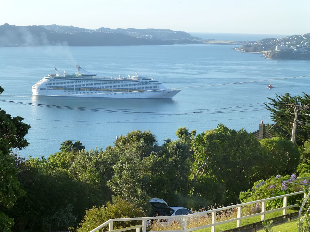 Fantastic views over Wellington harbour from upstairs lounge