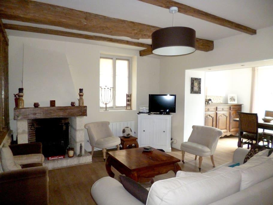 Salon très agréable avec cheminée et cuisine américaine de 30 m²