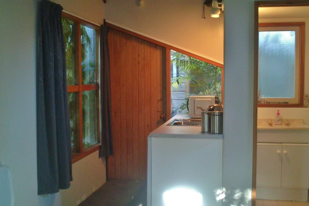 View towards kitchenette and bathroom