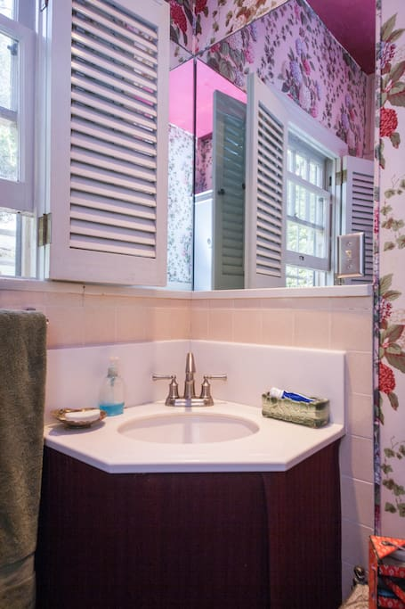 Another view of the guest bathroom with corner sink and shutters. It overlooks the garden.