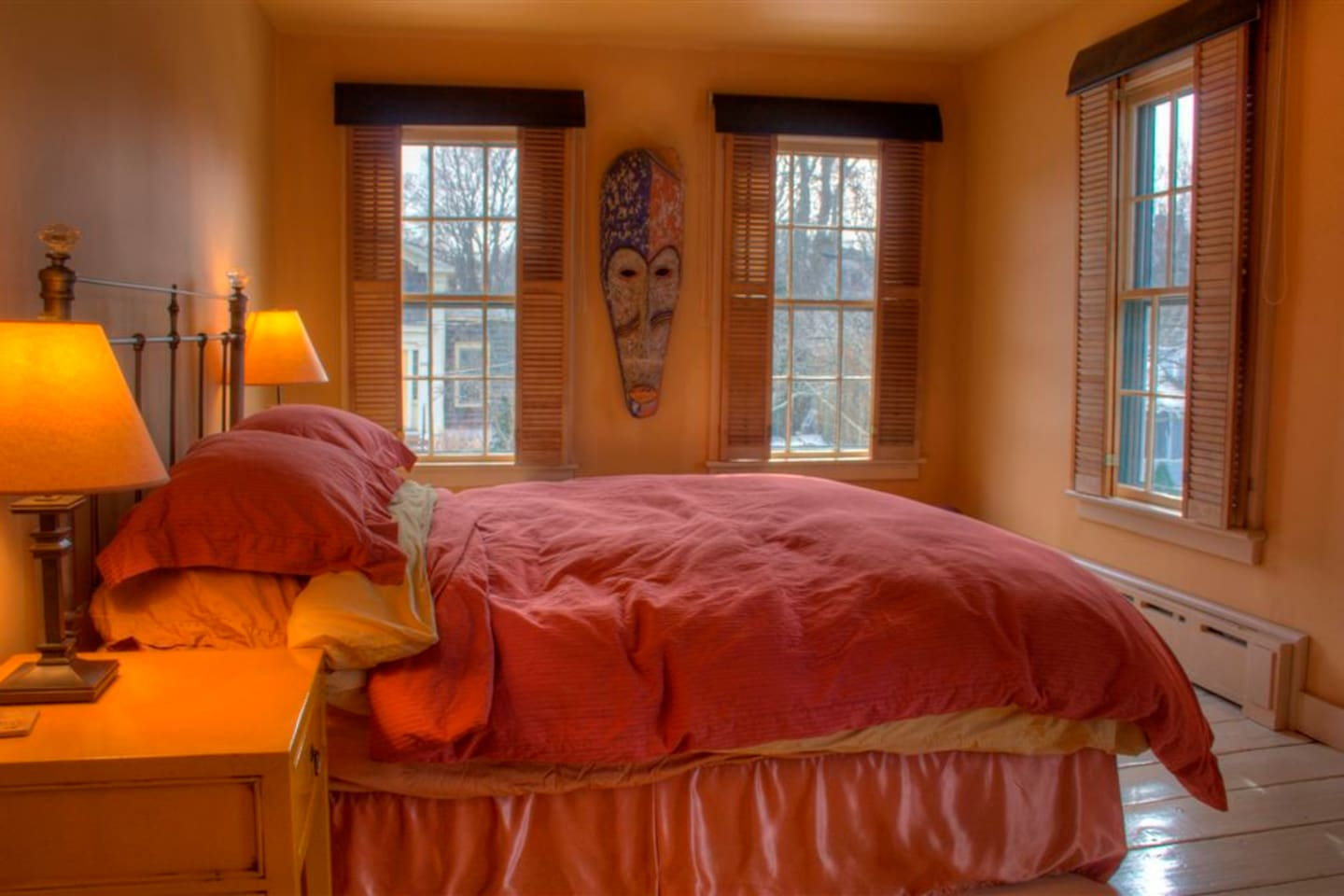 Your room with reading lights and open windows. Note the roll-down darkening shades.
