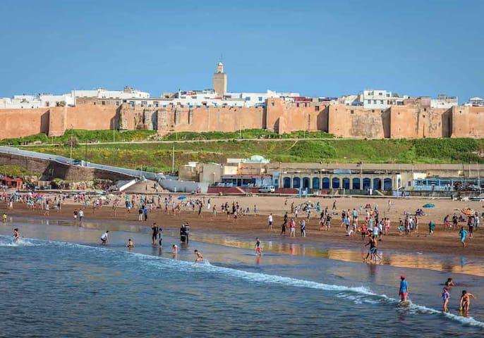 Rabat beach at 5 minutes walk