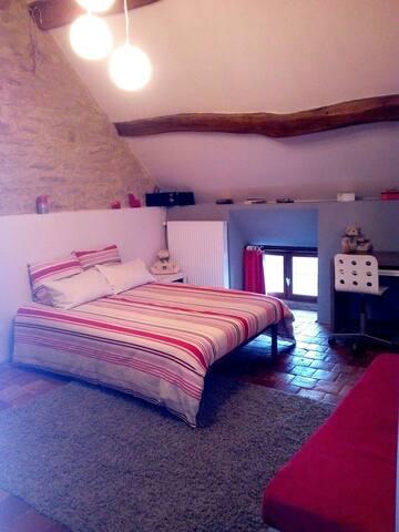 Grande chambre au charme de l'ancien ( tomettes, poutres et pierres apparentes...)