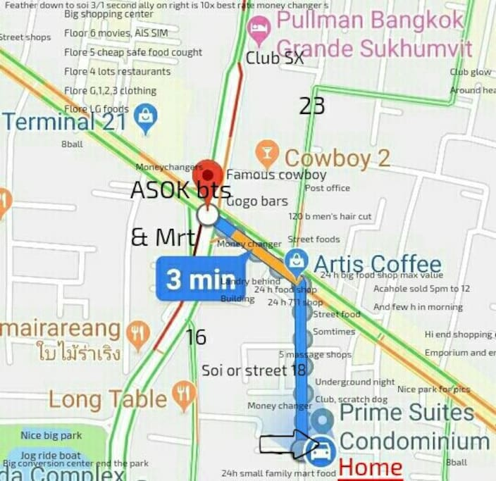 Usfull map some cool things near us walking distance to asok bts and MRT cross hear