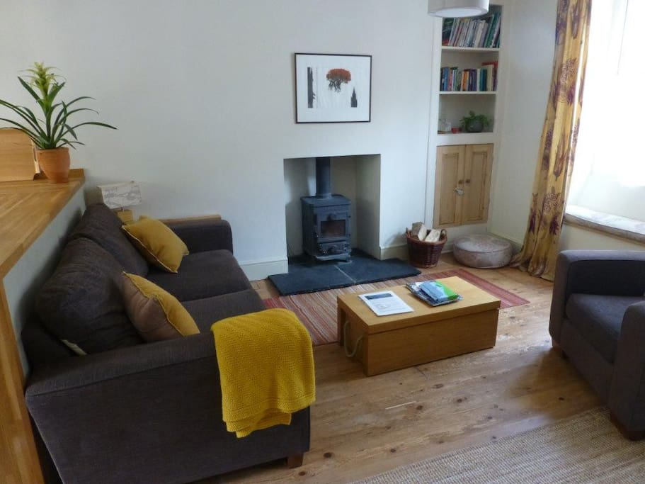Cosy lounge with wood burner and plenty of wood supplies in the store for winter stays..