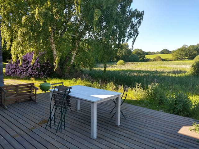 Arkitektonisk hus med natur udsigt