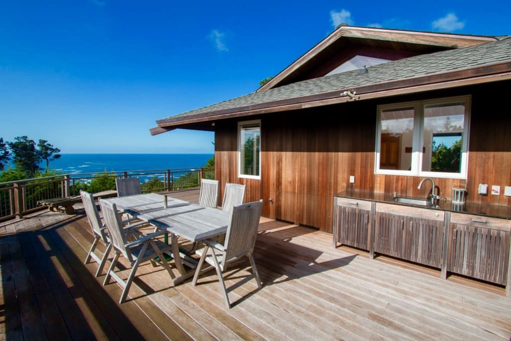 Guest Cottage with wrap-around deck and panoramic ocean views.