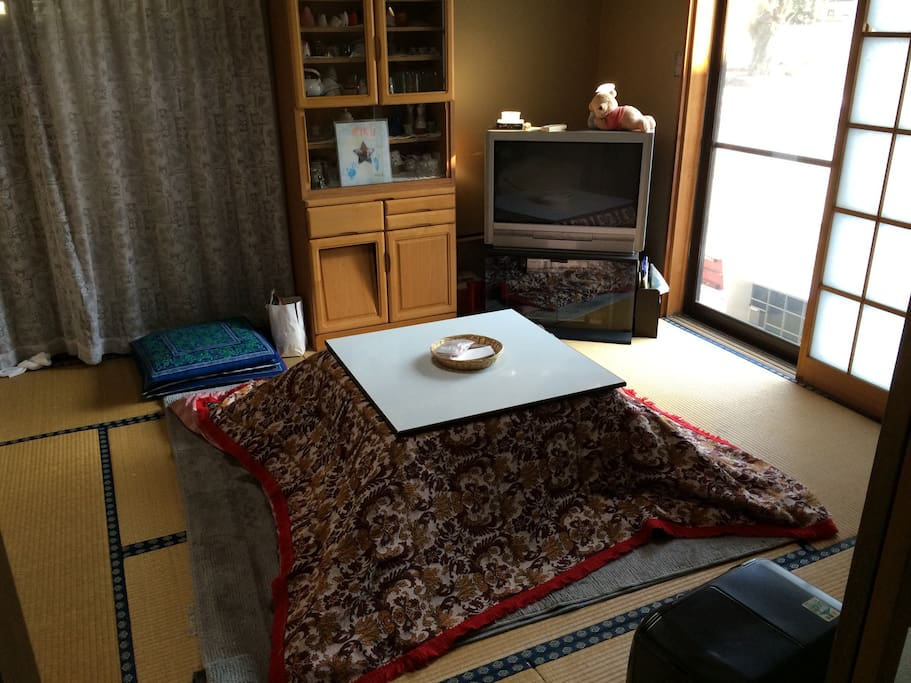A living room has a Kotatsu