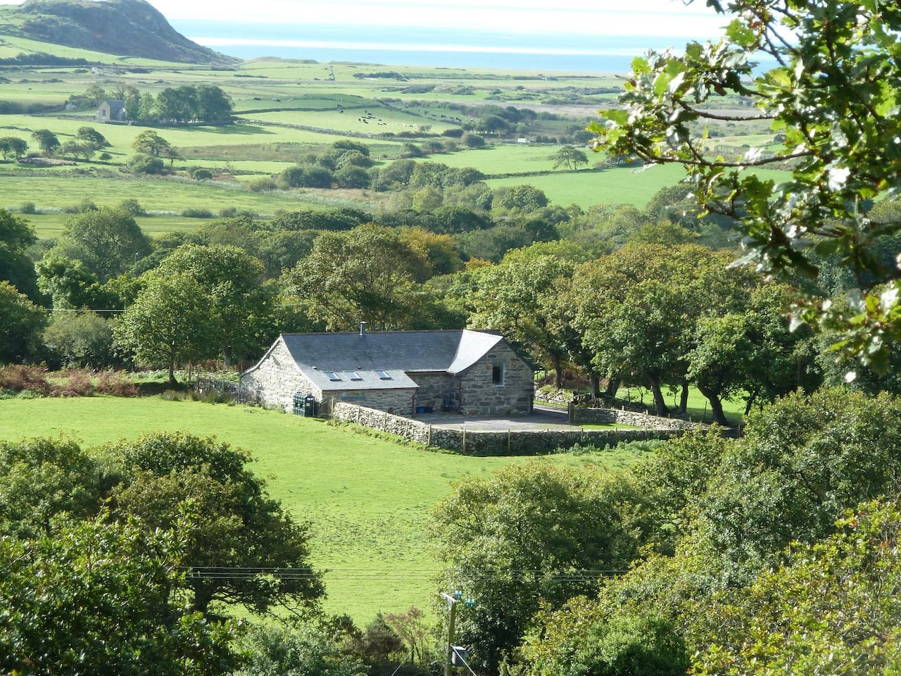 Hebog Bach nestles on a private 2000 acre rural Estate with views across the Llyn Peninsular.