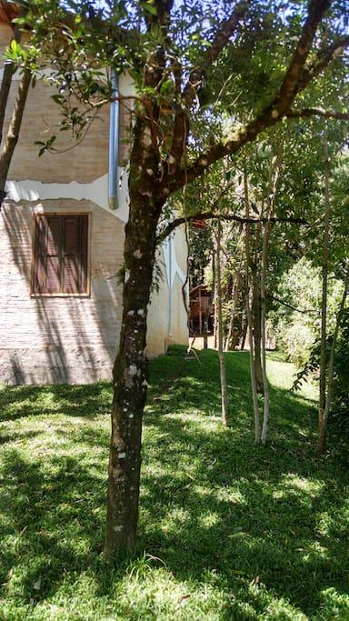 Ampla área verde e casa na árvore ao fundo.