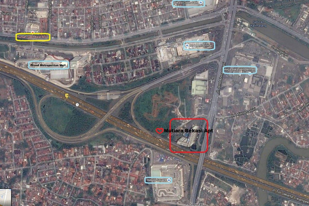 Mutiara Bekasi Apartment Location from Google Earth