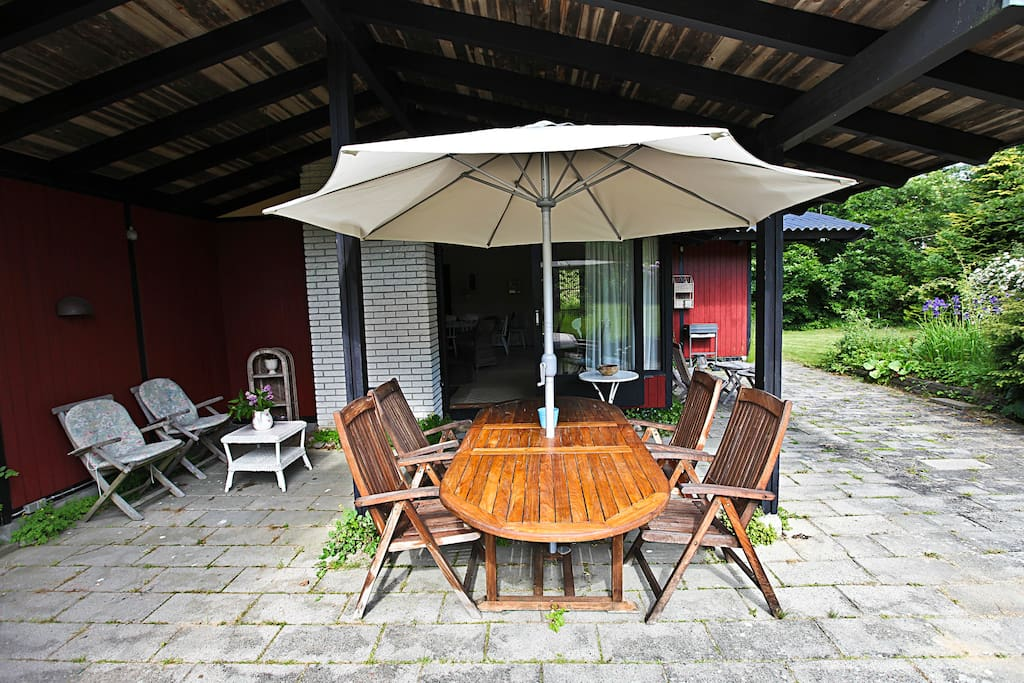 Covered terrace can be used for dining outside