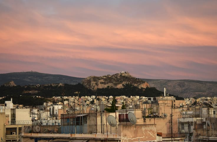 Views from the terrace - Eastwards: Mount Lyccabbetus.