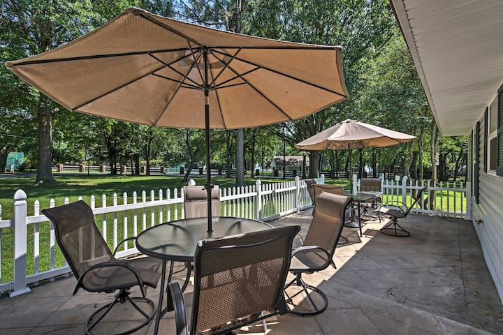 Relax on the shaded back patio.