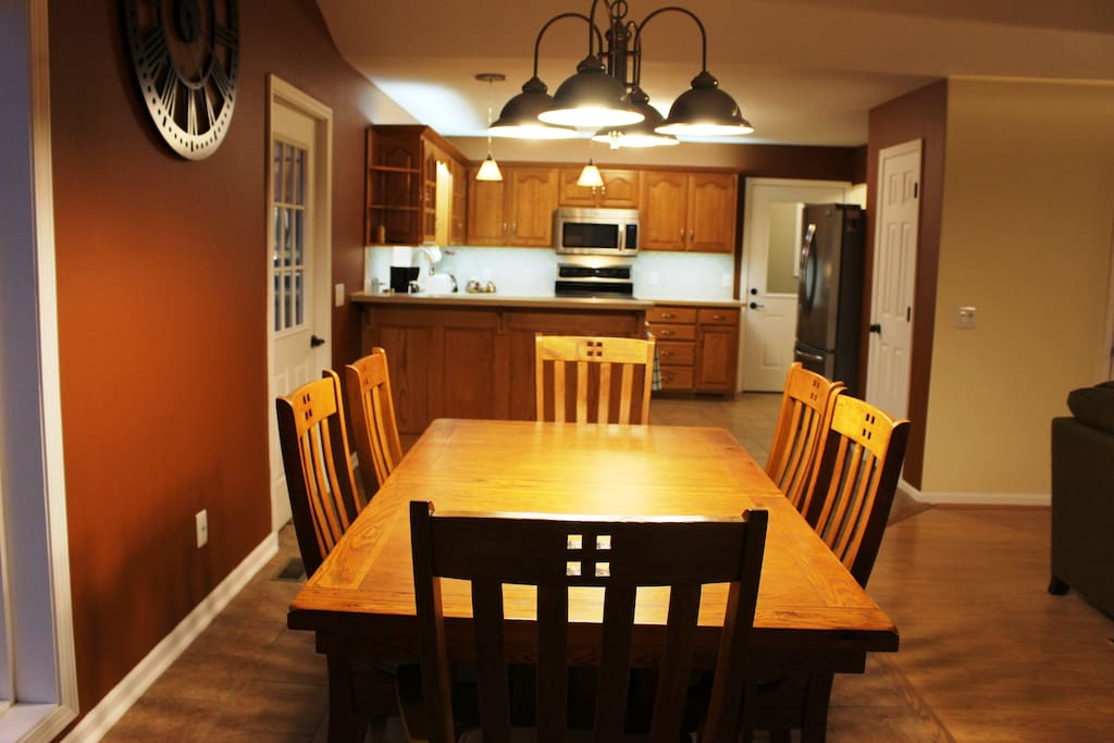 The updated kitchen is open to the living and dining room.