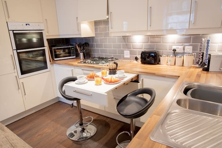 kitchen with pull out table for two