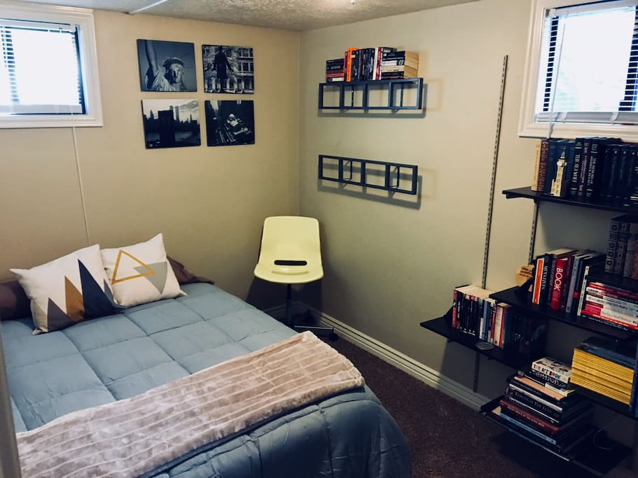 Bedroom #2, double bed with library