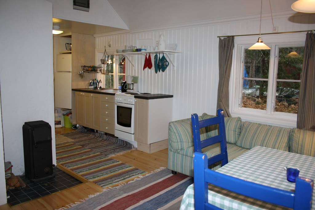 Well equipped kitchen area and a wood-fired stove for that cosy feeling