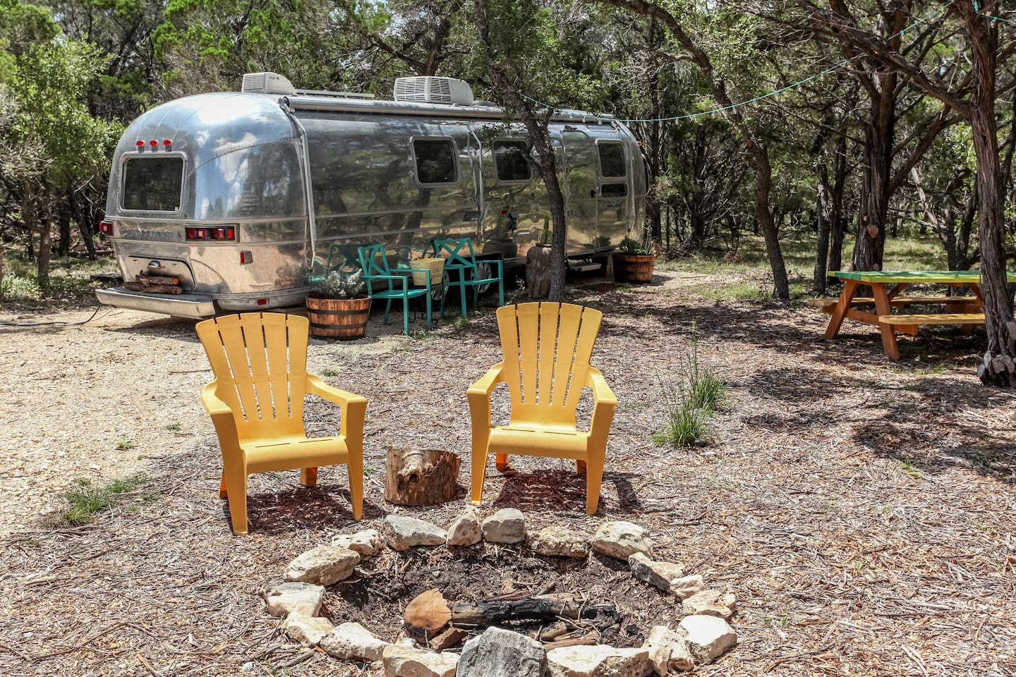 Stay in our renovated 1978 Airstream on 6 acres in Wimberley