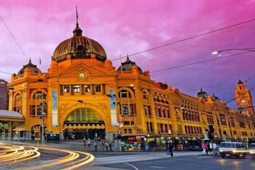 Flinders St Railway Station - directly across the road from my apartment. 95,000 passengers a day arrive or leave at the most iconic train station in Australia. Location! Location!  'Night Train' runs hourly ALL through the night - Friday and Saturday nights only