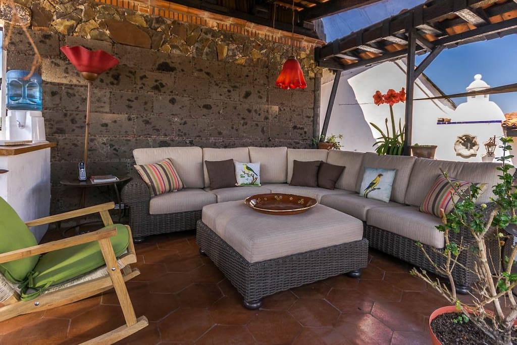 All of the guests at Casa Xola can enjoy this covered living room on the rooftop.
