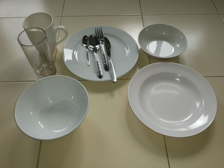 1 set of ceramic large flat plate & large bowl, plastic large deep plate & dessert bowl, knife, fork, spoon, teaspoon, drinking glass and coffee cup: 200 per set