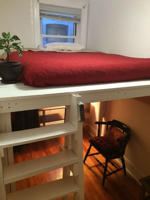King size memory foam new mattress on loft bed! Closet under bed! Perfect for couple or kids!