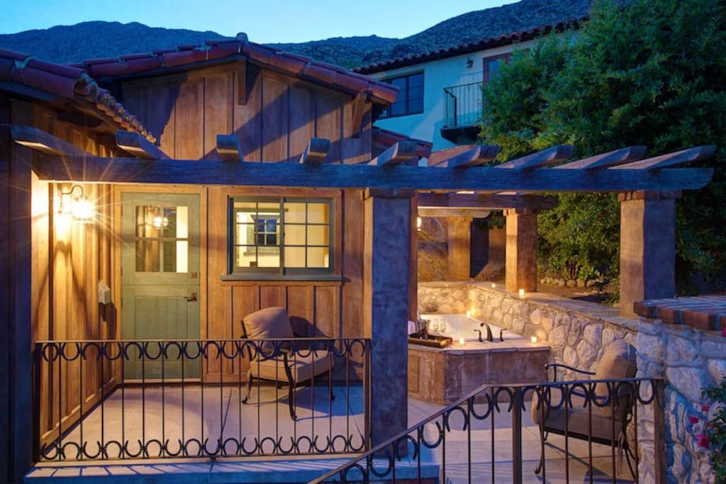 Private Patio at #137 with a Soaking Tub at Dusk