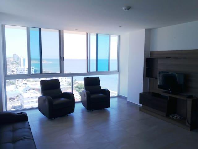 Hermosa vista, acogedor depto cerca de la playa - Portoviejo - Apartemen