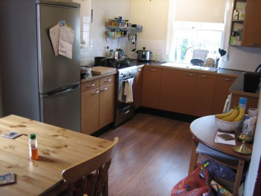 Kitchen diner area with gas hob and electric fan oven