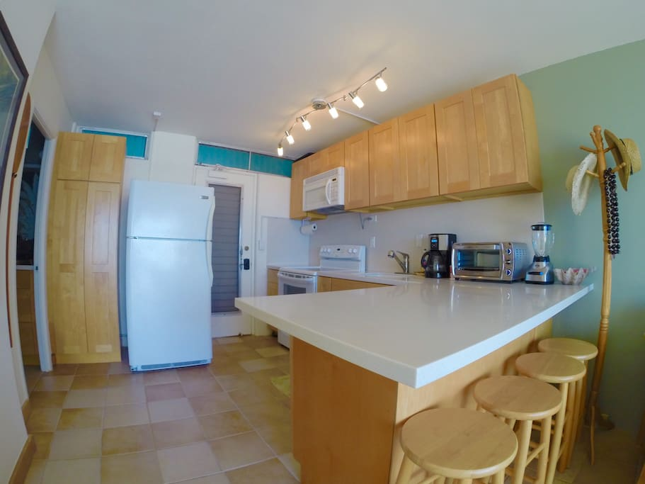 Remodeled Kitchen with eat-in counter, well equipped with plenty of counter space to chef it up!