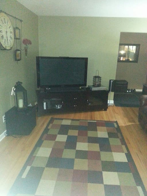 Shared living room, big screen TV, DISH/DVR, Blu-ray, Wii