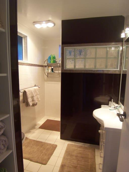 Modern bathroom with huge walk in shower