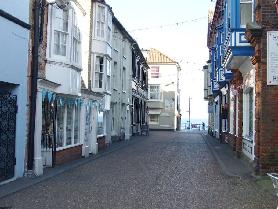 Looking down Garden Street to the sea, cottage is on the left