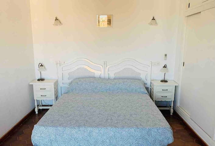 Large Master Bedroom 2 with sea views (1st floor) : with double size bed «150*190 cm», A/C,  large double Closet, Desk and chair