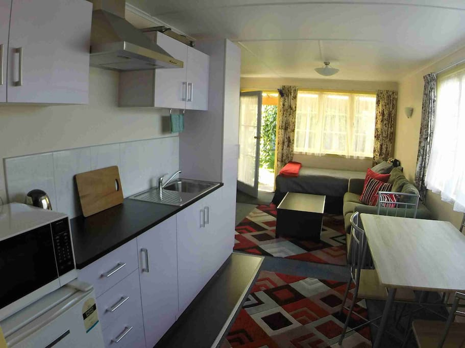 Kitchen and living area with king single