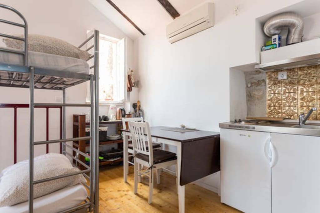 small kitchenette and cool air conditioning