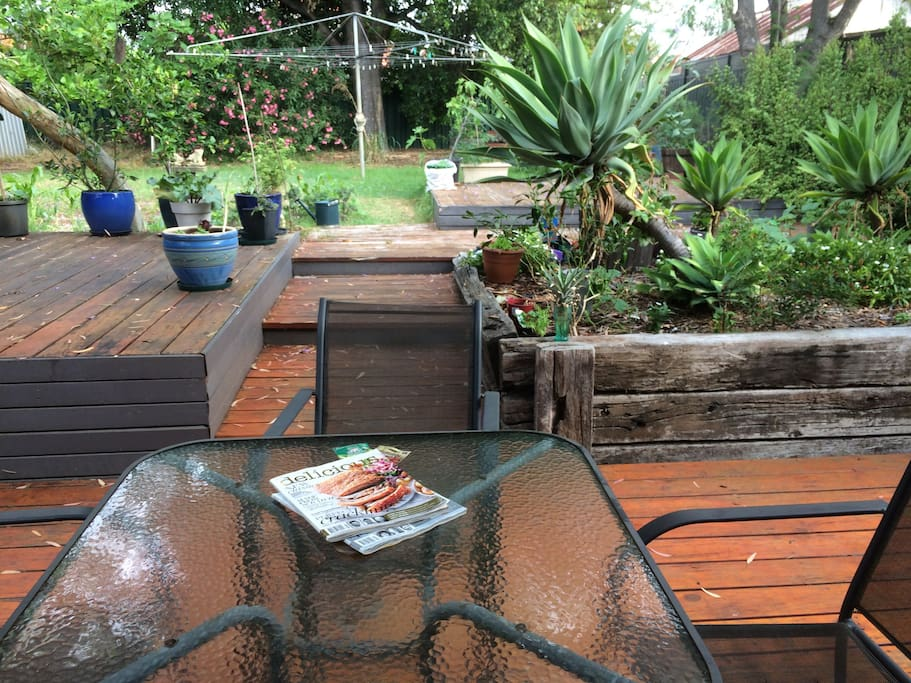 Enjoy the lush garden and the birds in the morning