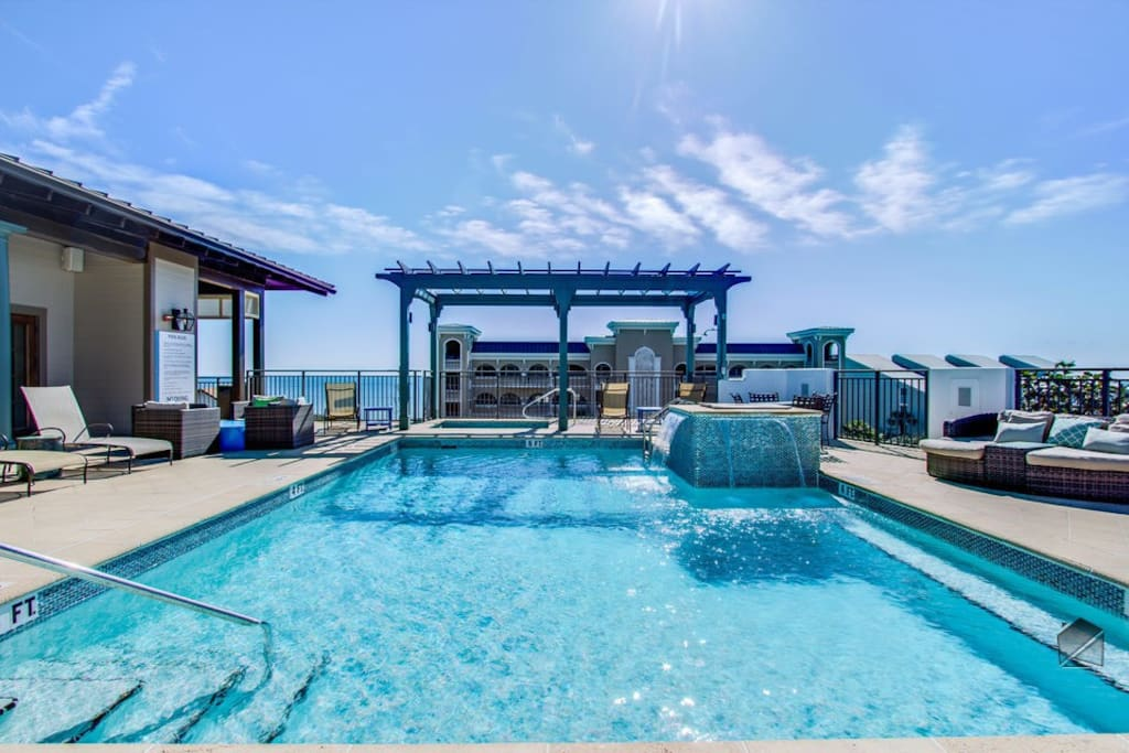 Enjoy Gulf views from your rooftop pool.