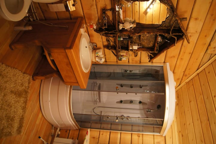 The Chalet has all facilities, a barbecue area and a Russian bathhouse.