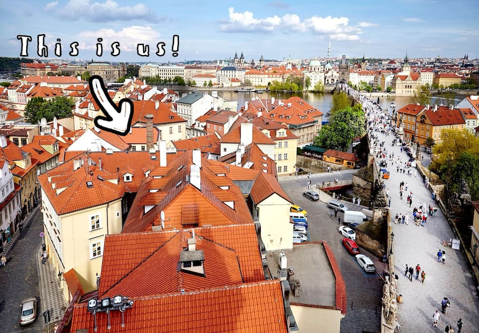 View from one of the towers on the Charles bridge. Our house is the one with brick chimney on the left