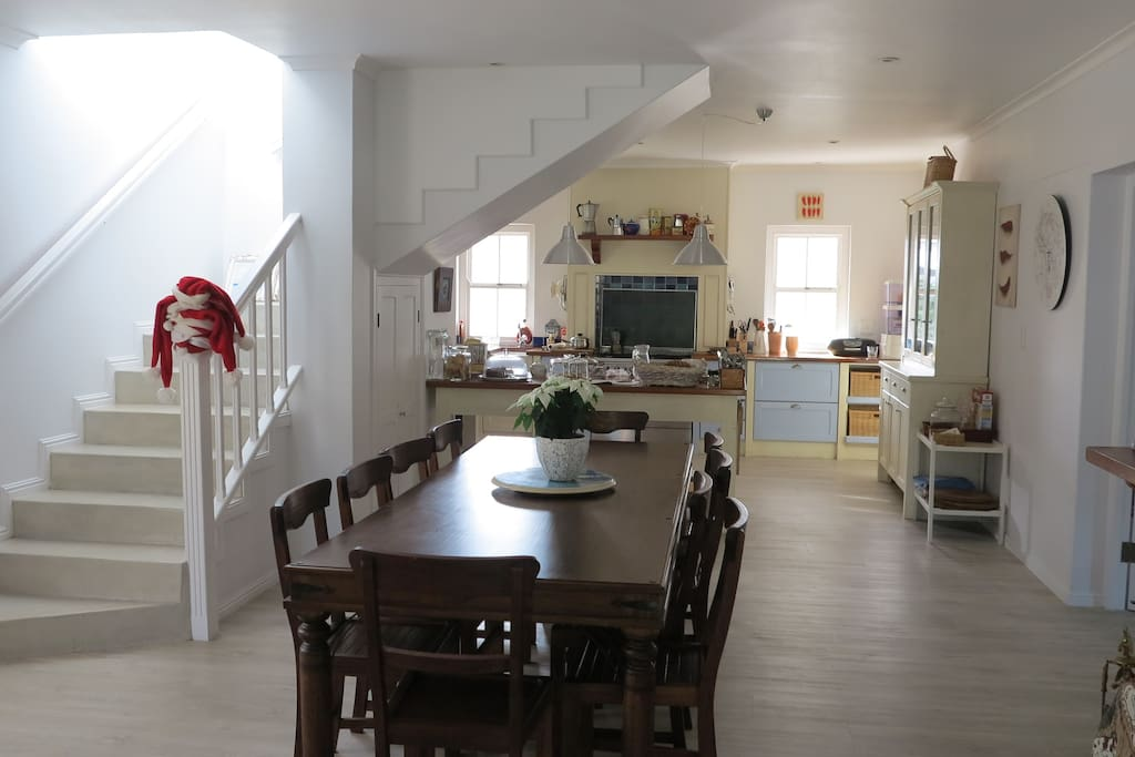 The inside kitchen and dining area