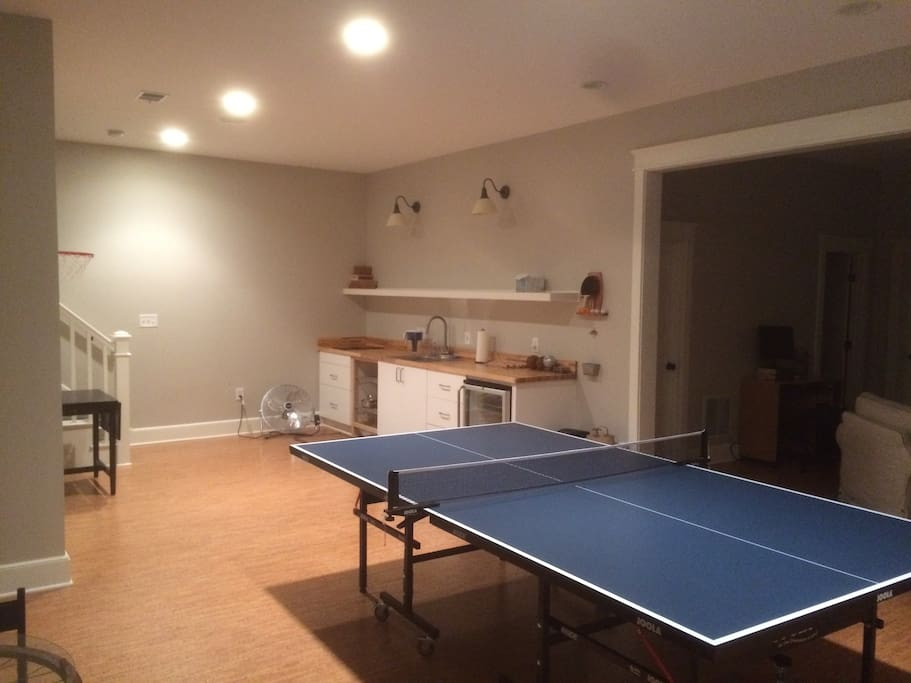 ping pong table, mini fridge, induction range