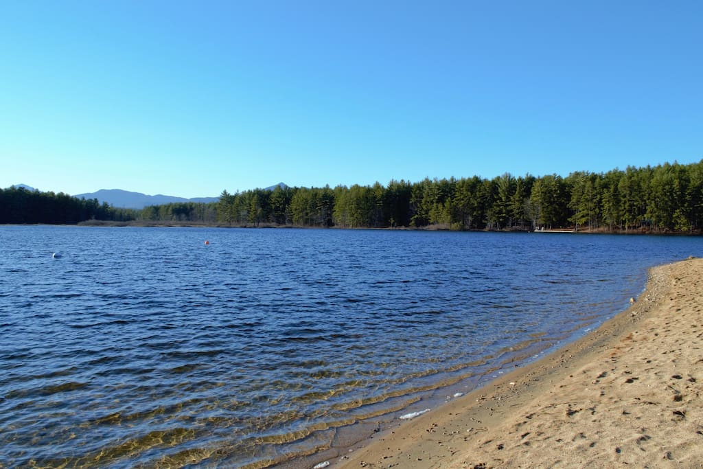Sandy beaches at Moores Pond