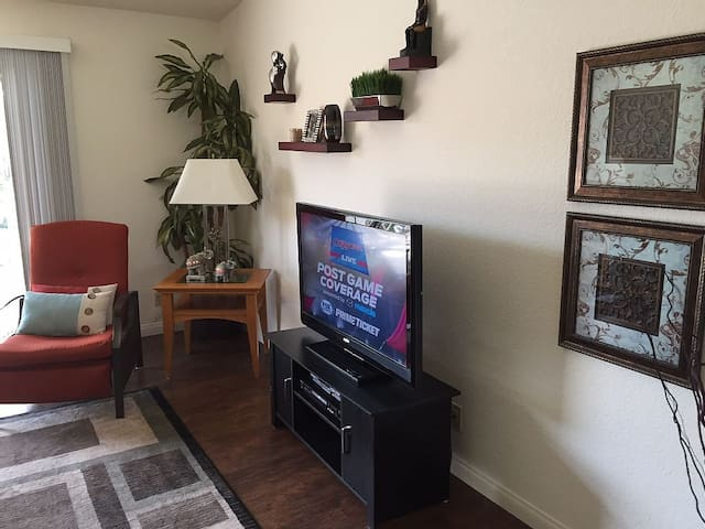 55 inch Smart TV with Cable, HBO, Showtime, Netflix and Amazon Prime.