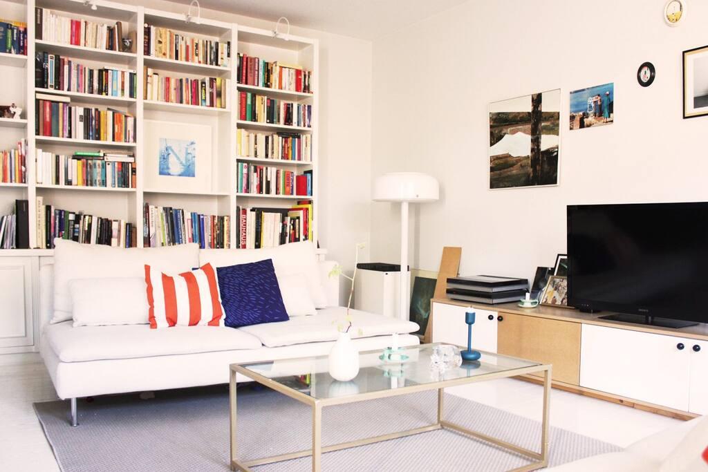 Livingroom with book shelves.